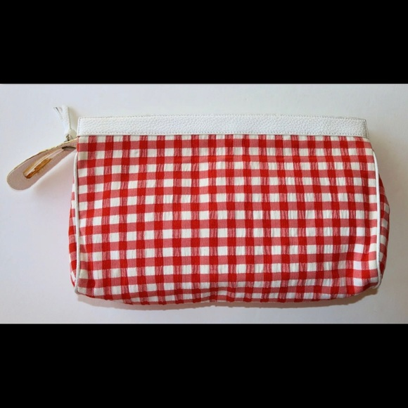 Rodo Red & White Seersucker GINGHAM Clutch Purse